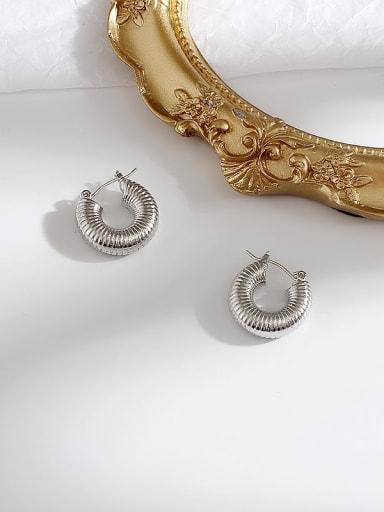 white k Copper  Minimalist  Round Huggie Earring