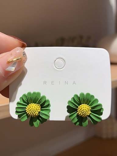 green Iron Enamel Flower Trend Stud Earring