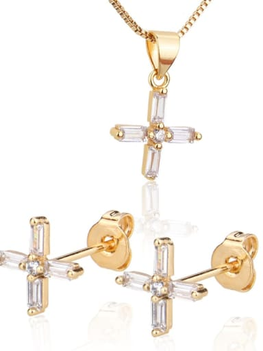 Brass Cubic Zirconia  Cute Cross Earring and Necklace Set