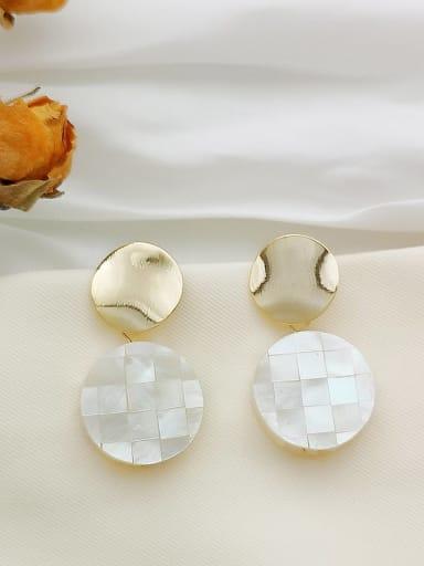 Dark yellow lattice Copper  Round Minimalist Stud Earring