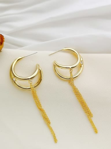 Copper Cubic Zirconia Tassel Dainty Drop Earring