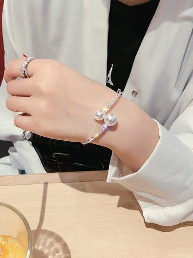 Silverly  Bracelet Zinc Alloy Imitation Pearl White Geometric Trend Choker Necklace