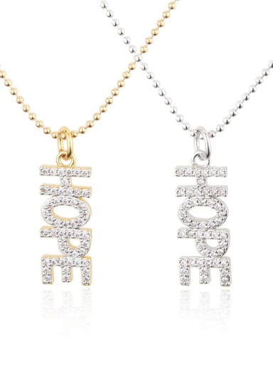 Brass Cubic Zirconia Letter Dainty Necklace