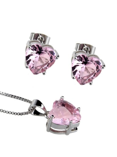 Platinum Plated Pink Brass Heart  Cubic Zirconia Earring and Necklace Set