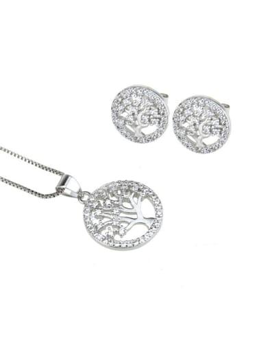 Platinum plating Brass Cubic Zirconia Minimalist Tree Earring and Necklace Set