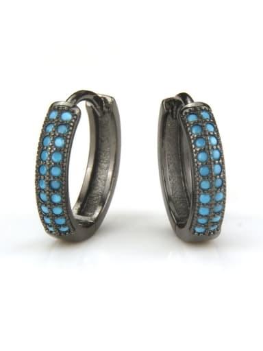 XXED 196 Brass Rhinestone Geometric Vintage Huggie Earring