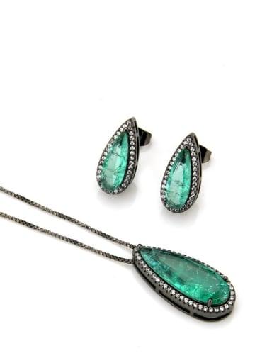 Black green zircon plating Brass Luxury Water Drop Cubic Zirconia Earring and Necklace Set