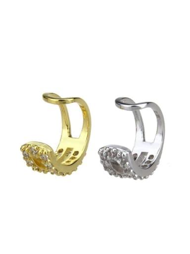 Brass Cubic Zirconia Round Dainty Clip Earring