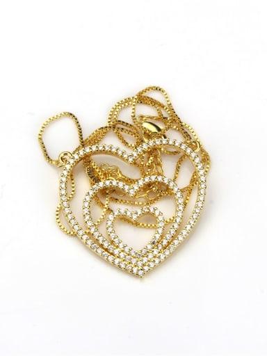 Gold plated white zircon Brass Heart Cubic Zirconia Dainty Pendant