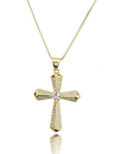 Brass Cubic Zirconia Cross Dainty Regligious Necklace