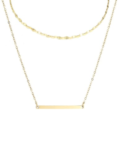 golden Stainless steel rectangle Minimalist Necklace