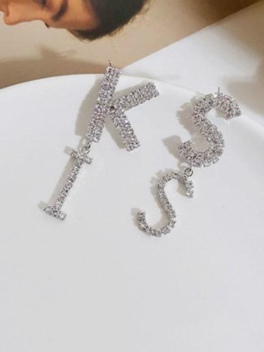White K Copper Rhinestone Letter Cute Drop Earring