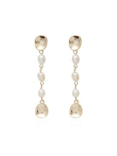 Copper Imitation Pearl Geometric Ethnic Drop Earring