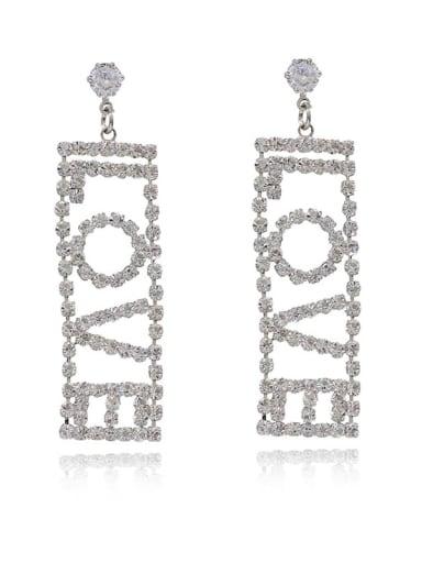 White K Copper Cubic Zirconia Letter Minimalist Chandelier Earring