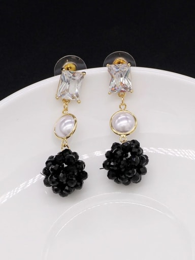 Black crystal Copper Cubic Zirconia Ball Cute Stud Earring