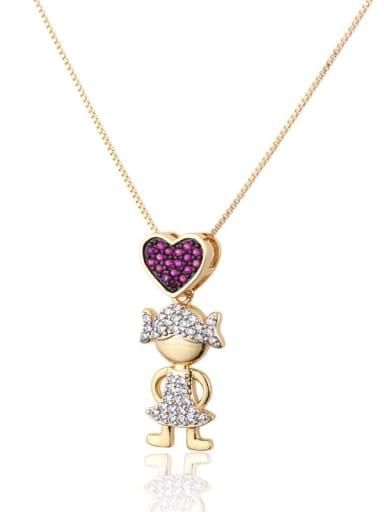 Brass Cubic Zirconia Heart Cute Necklace