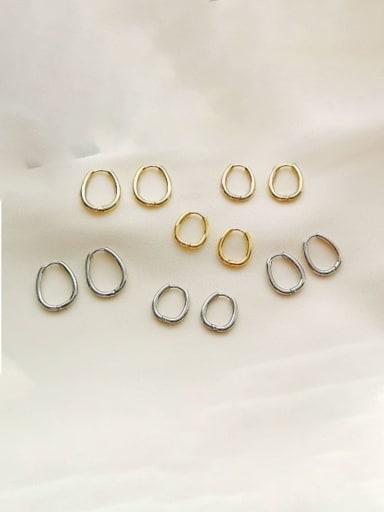 Brass Oval Minimalist Hoop Earring