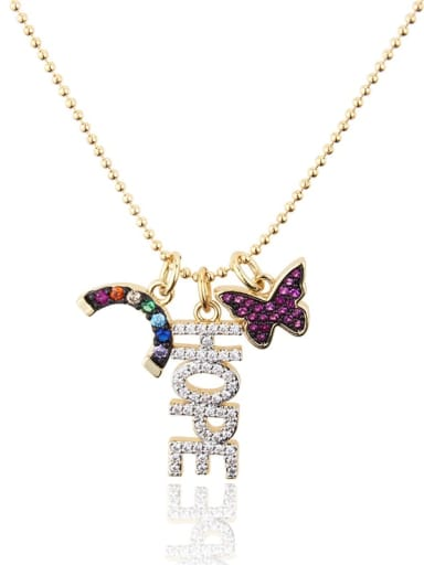 Gold plated color zirconium Brass Rhinestone Letter Dainty Butterfly pendant Necklace