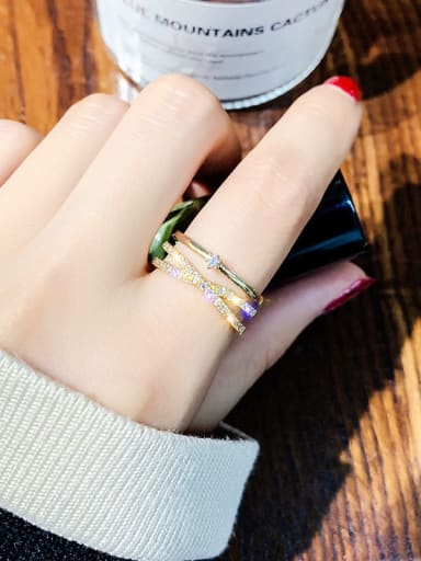 Golden Alloy +Rhinestone White Geometric Trend Stackable Ring/Free Size Ring