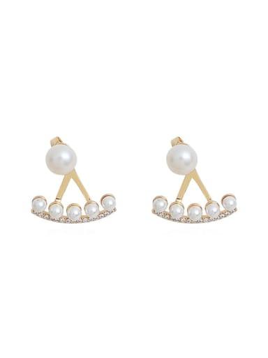Copper Imitation Pearl Irregular Minimalist Stud Earring