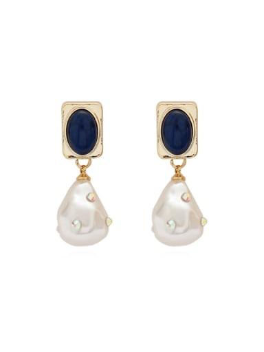 Copper Imitation Pearl Geometric Vintage Drop Earring