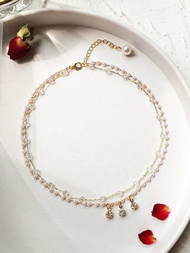 Zinc Alloy Imitation Pearl White Locket Trend Choker Necklace