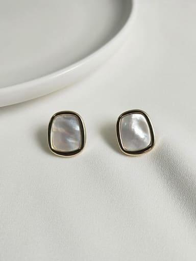14K  gold white Copper Shell Geometric Ethnic Stud Earring