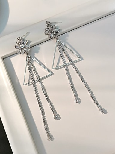 White K Copper Cubic Zirconia Tassel Minimalist Threader Earring