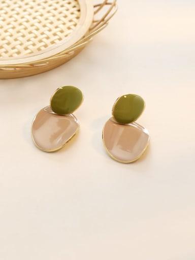 14K  gold milk tea Copper Enamel Geometric Minimalist Drop Earring