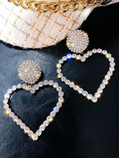 Silver Color Alloy Rhinestone Heart Statement Earring