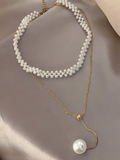 Zinc Alloy Imitation Pearl White Locket Trend Lariat Necklace