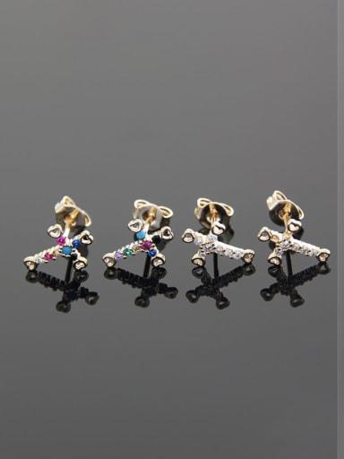 Brass  Cross Cubic Zirconia  Minimalist Stud Earring