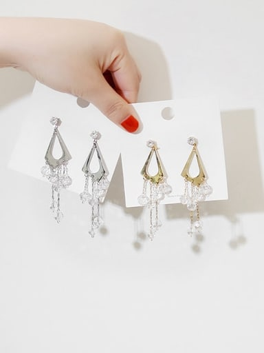 Copper Crystal triangle Tassel Dainty Stud Earring