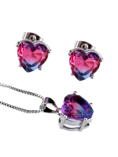 Two color platinum plating Brass Heart  Cubic Zirconia Earring and Necklace Set