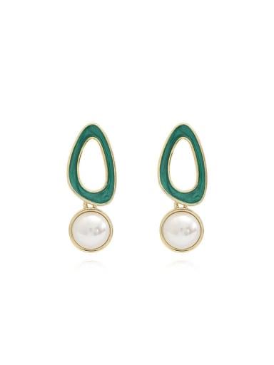 Copper Imitation Pearl Enamel Geometric Minimalist Drop Earring