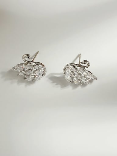 Copper Cubic Zirconia Swan Cute Stud Earring
