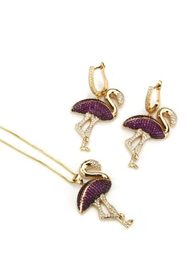 Brass Flamingo Cubic Zirconia Earring and Necklace Set