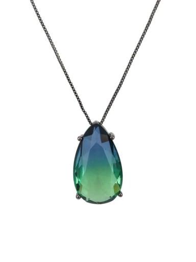 Black blue green gradient Brass Cubic Zirconia Water Drop Luxury Necklace