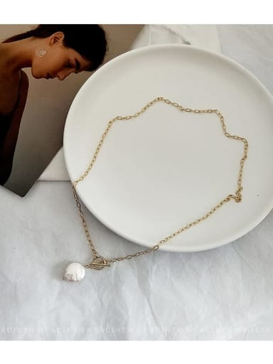 Copper Alloy Freshwater Pearl White Geometric Trend Necklace