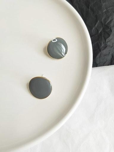 14K gold grey Copper Enamel Round Minimalist Stud Earring