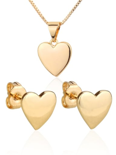 Brass  Heart Earring and Necklace Set