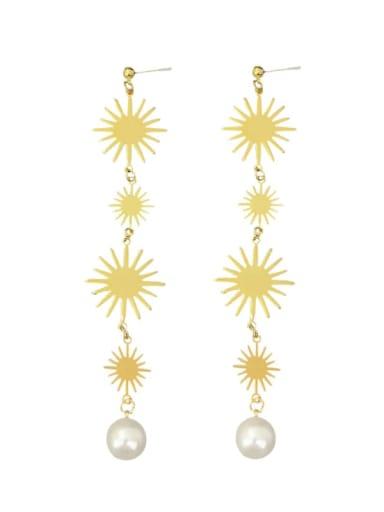 Alloy Imitation Pearl Tassel Flowers Bohemia Long Drop Earring