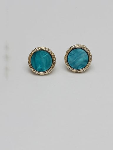 14K  gold lake blue Copper Acrylic Round Vintage Stud Earring