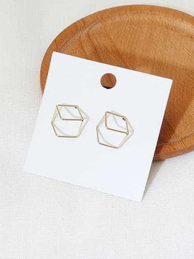14K gold Copper Hollow Square Minimalist Stud Earring