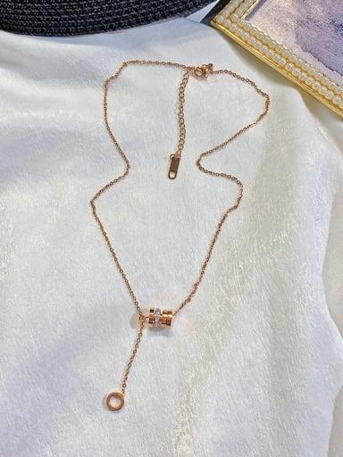 Titanium Rhinestone White Number Trend Lariat Necklace