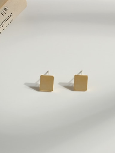 14K gold Copper Gold Geometric Minimalist Stud Earring