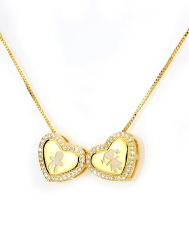 Gilded men and Girl Brass Cubic Zirconia Heart Dainty Necklace
