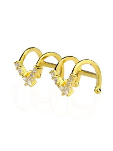 Brass Geometric Cubic Zirconia  Minimalist Clip Earring