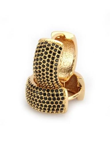 Gold Plated Black zirconium Brass Cubic Zirconia Round Dainty Hoop Earring