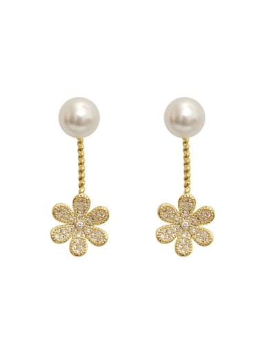 Copper Cubic Zirconia Flower Vintage Stud Earring